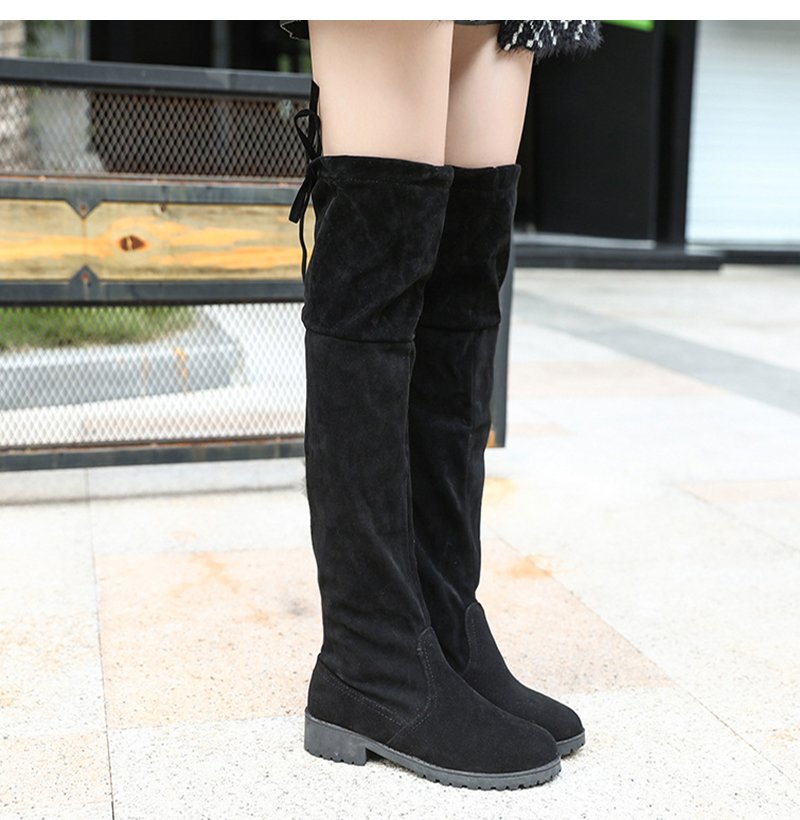 Boots Female Winter Boots Women Over the Knee Boots Flat Stretch Sexy  Fashion Shoes 2018 Black b349790539