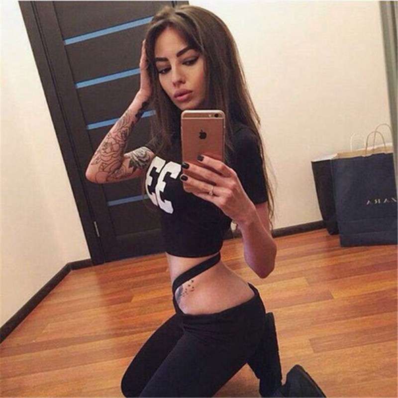 2017 2 pcs., Women's Clothing Patchwork Tracksuit, Crop Top, Tanks And Leggings, Sporting Clothing 3