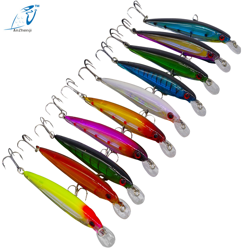 ANZHENJI 10Pic / Lot 13.5G 11cm Pescuit Lure Minnow Lures Hard Momeala Pesca Pesca de pescuit esteca artificial 10 Culori Hook Swimbait