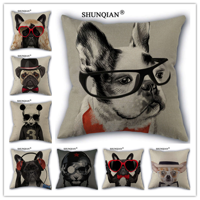 Y517(3) Hot Sale Pug Dog Cotton Linen Pillow Case For Wedding Decorative Square 18x18 inches Pillow Cover