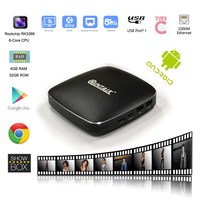 QINTAIX Android 6 0 TV Box Rockchip RK3399 CPU Metal Shell 4GB RAM 32GB ROM LAN