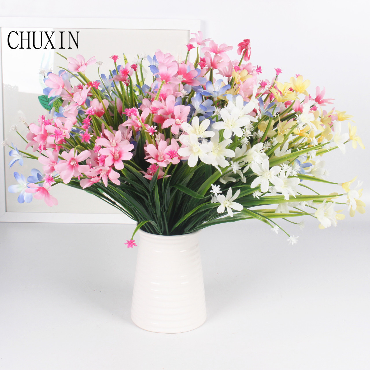 Online get cheap silk orchid plants aliexpress alibaba group new delightful multi color artificial silk orchid flower with plastic leaf grass plant for wedding floral dhlflorist Gallery