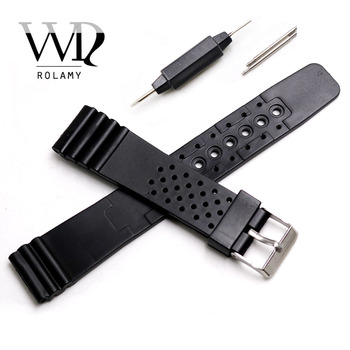Ремешок для часов Rolamy 20 мм, ремешок из силиконовой резины, прямой ремешок для часов, Черный Сменный ремешок для часов
