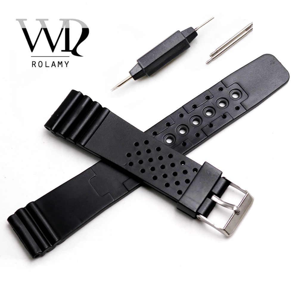 Rolamy 20mm Horloge Band Strap Belt Silicone Rubber Rechte End Pols Voor Rolex Omega Panerai Black Vervanging Horlogeband
