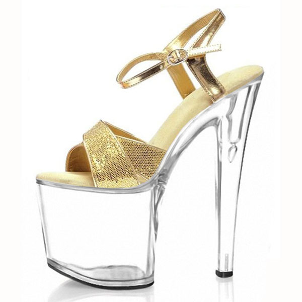 ab19edb3827 Aliexpress.com   Buy Glitter bright look sexy sandals necessary 20cm thick  bottom heels catwalk shows interest colourful shoes from Reliable sexy  sandals ...