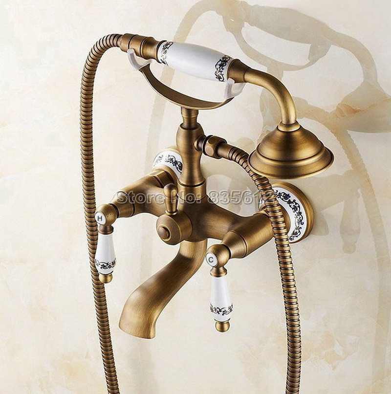 Antique Brass Dual Holder Dual Control Bath Tub Mixer Tap with Handheld Shower Head Wall Mounted Bathroom Faucet Wtf306
