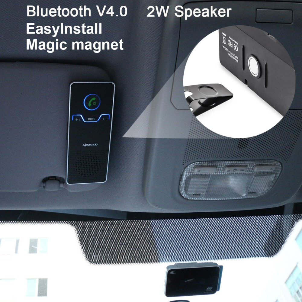 Siparnuo manos libres Bluetooth Car Kit Visera Bluetooth Car Speakerphone con cargador de coche Bluetooth Car Kit manos libres V4.1