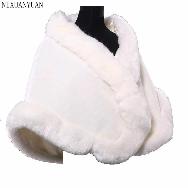 Bridal Wraps Winter Faux Fur Stole Bridal Winter Coat Ladies Evening Jackets Wedding Shawl Shrug Boleros