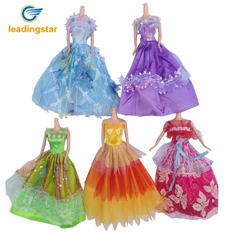 LeadingStar 5Pcs Doll Beauty High Grade Luxurious Dress Clothes for Barbie as Perfect Girl Christmas Gift Random Color zk30 handmade chinese ancient doll tang beauty princess pingyang 1 6 bjd dolls 12 jointed doll toy for girl christmas gift brinquedo