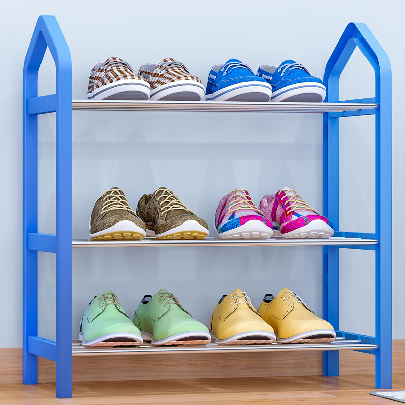 Simple Plastic Shoe Rack 3 Tier Easy Assembled Steel Pipe Stand Holder Shoe Shelf Minimalist Shoes Storage Organizer Space Saver multiple layers shoe rack plastic parts steel pipe shoes shelf easy assembled storage organizer stand holder space saving