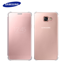 Original Samsung Galaxy A9 Transparent View Window Smart Flip Case Clear Mirror Case Fashion Hard PC Cover A9 Phone Cases