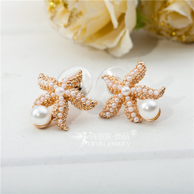 2016 new design Korean Cute Starfish Earrings Pearl Earrings