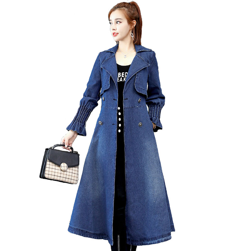 New Spring autumn women's denim   trench   coat fashion long Windbreaker coat female Long sleeve A-line jeans Outerwear IOQRCJV H565