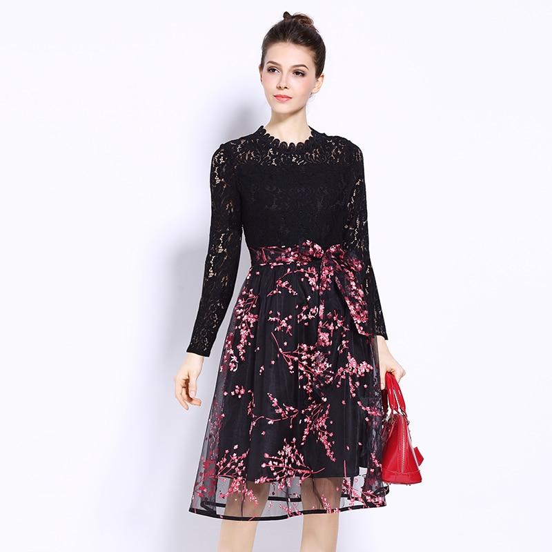 ad7dfbd9026 2019 Новый дизайн женские цветочные кружева тюль А-силуэт платья плюс  размер весна осень женские цветы марли Мода бант платье черный