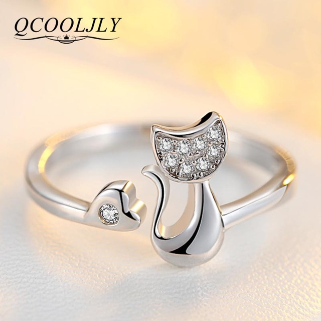 Qcooljly Rose Gold Color Cat Shape Wedding Engagement Adjule Ring For Women Cz Jewelry Gift