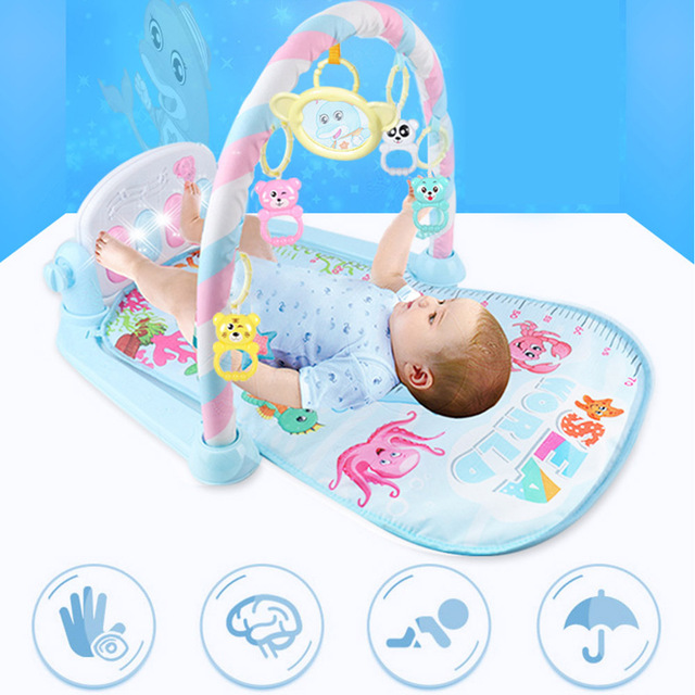 Newborn Baby Fitness Bodybuilding Frame Pedal Piano Music Carpet Rocking Chair Activity Kick Play Education Toy 5