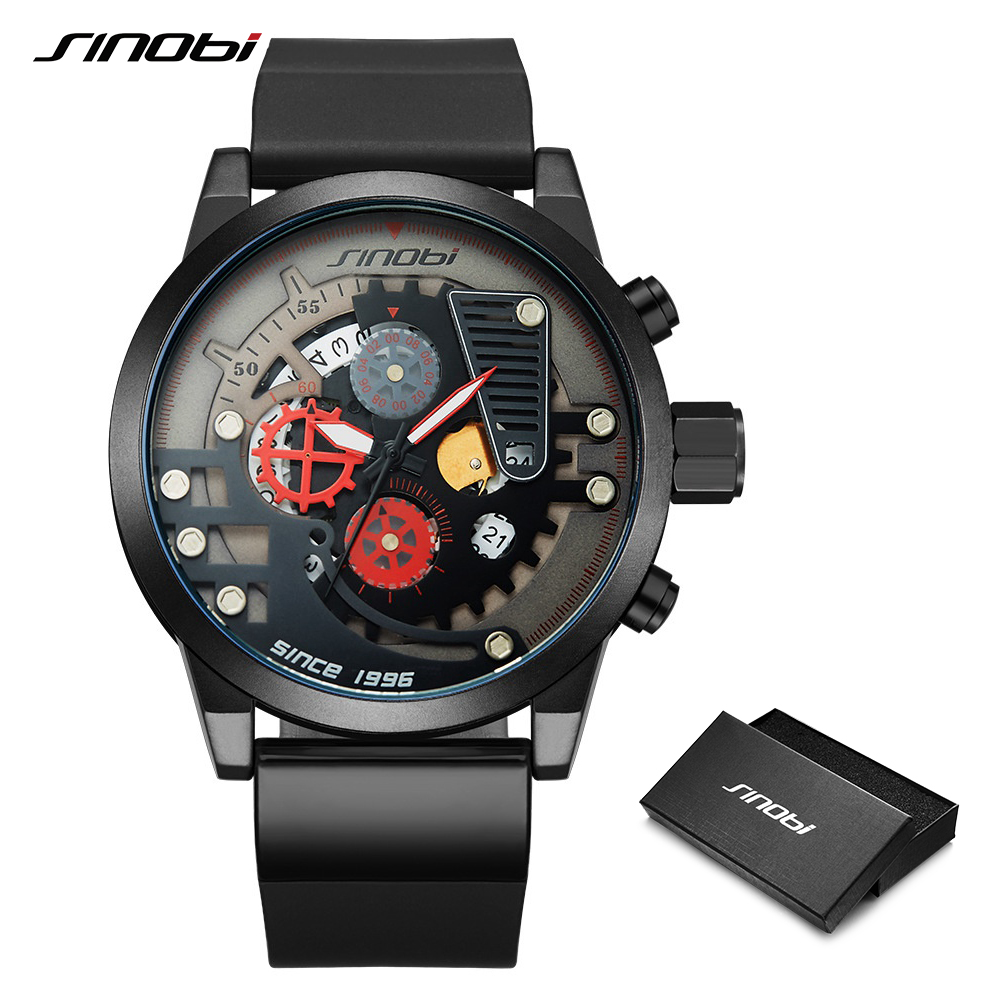 SINOBI Men Watch Original Design Creative Men Sports Watches Gear Dial Watch For Men Chronograph Clock Relogio Masculino