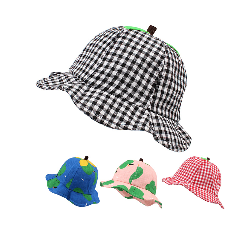 3d2c9ee4ca6f7 Cartoon Plaid Baby Hat Panama Cotton Summer Sun Cap Lace Up Fitted Baby Hat  For Girls Fashion Beach Hat Baby Girl Clothing
