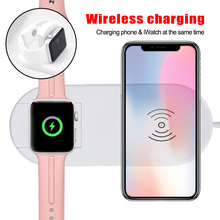 2-in-1 Wireless Charger For Watch 1 2 3 4 Mobile Phone Chargers For iPhone X XS MAX XR 8 8 Plus Wireless Charging Pad laurel burch lb4101 medium tote zipper top 12 in x 3 1 2 in x 8 1 2 in tres gatos blue gold
