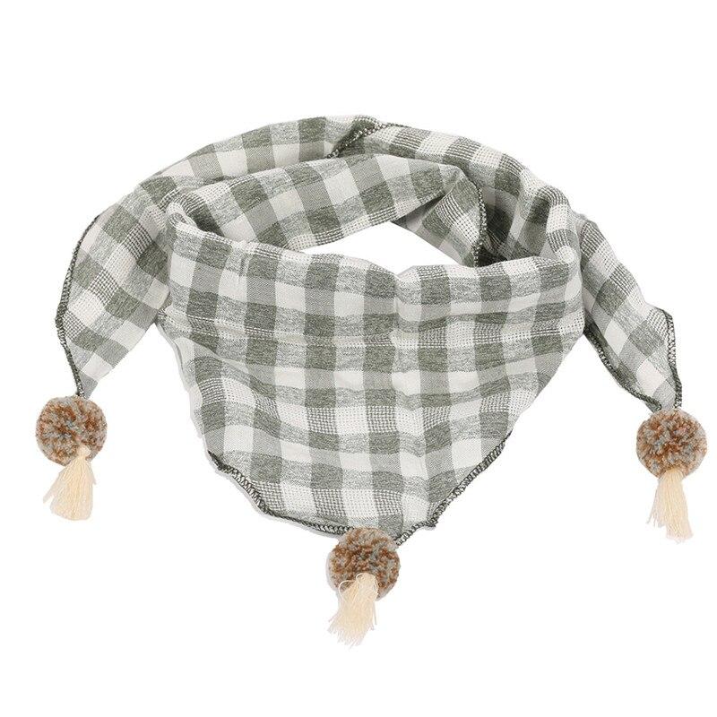 Весенние клетчатые треугольные шарфы в горошек для маленьких девочек; осенне-зимняя шаль для мальчиков и девочек; Детские хлопковые воротники; теплый детский шейный платок - Цвет: light green grid