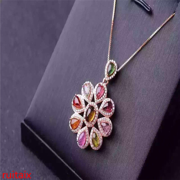 KJJEAXCMY boutique jewels S925 silver natural crystal tourmaline necklace pendant set necklace chain.KJJEAXCMY boutique jewels S925 silver natural crystal tourmaline necklace pendant set necklace chain.