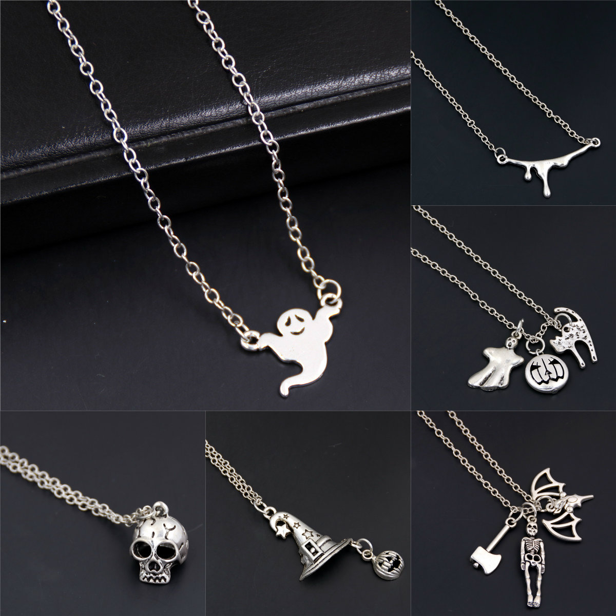 Bat Pendant Necklace Charms Witch-Hat Goth Jewelry Skull Gift Halloween Women for Festival
