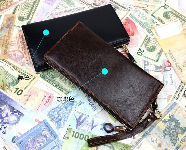 Free shipping First layer of cowhide male casual trend of the day clutch long design multi card holder wallet