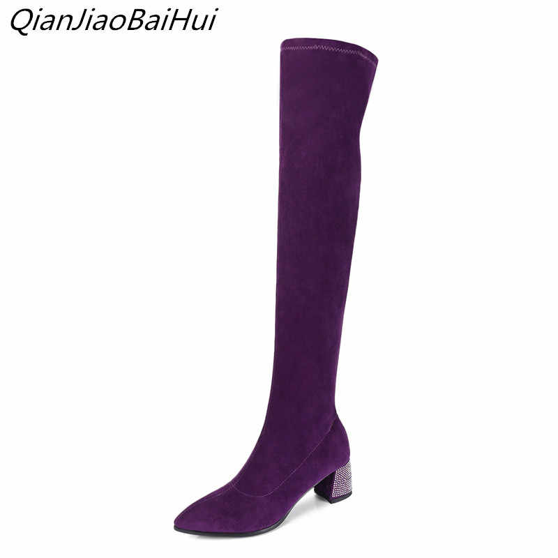 b8c1492e249b brand luxury shoes woman 2108 fashions purple socks thigh high boots autumn  boots for women plus