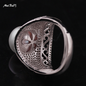 Image 5 - MeiBaPJ Luxurious 925 Silver Ring With 100% Genuine Freshwater Pearl Ring For Women Grade AAAA 10 11mm White Pearl TZ 146Y JZ