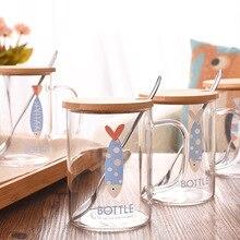 450 мл креативный бамбуковый чехол стеклянный милый мультяшный узор с крышкой Ложка прозрачный чайный стакан