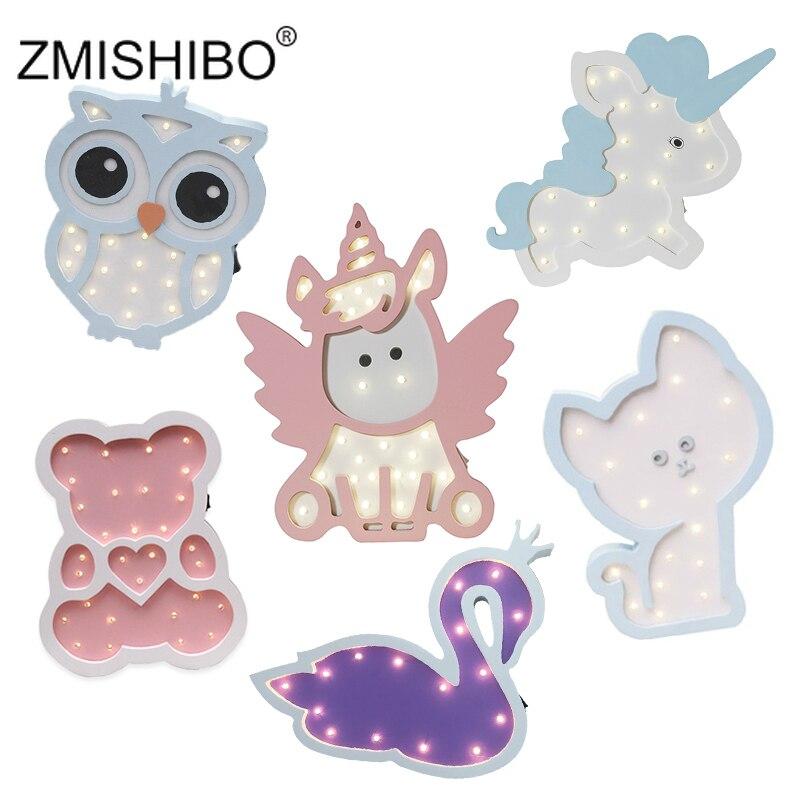 ZMISHIBO Wood Animal Night Light Pink Blue Unicorn Cat Owl Elephant LED Bedroom Decor Desk Lamp Home Lighting Kids Birthday Gift