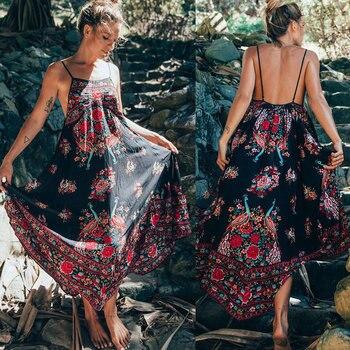 Mode mode femmes été bohème en mousseline de soie sangle robe partie soirée plage dos nu longues robes d'été robe d'été GM
