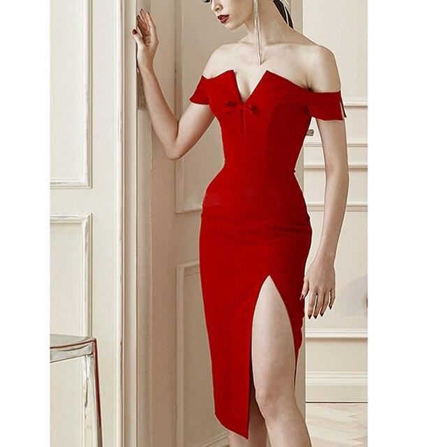 b4490ecdb493 2017 Spring dress Women Party Bodycon Bandage Dress short sleeve off-shoulder  V-neck runway Red midi dress whole H4267
