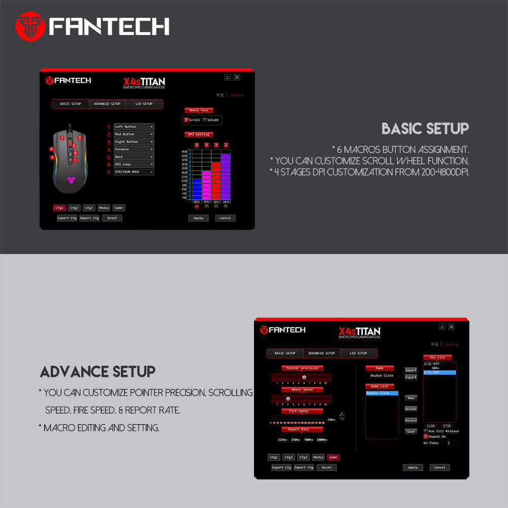 FANTECH X4S RGB Game Mouse 6D key 4800DPI Free switching Support software  programming MACRO GAMING MOUSE For PC Gamer LOL PUBG