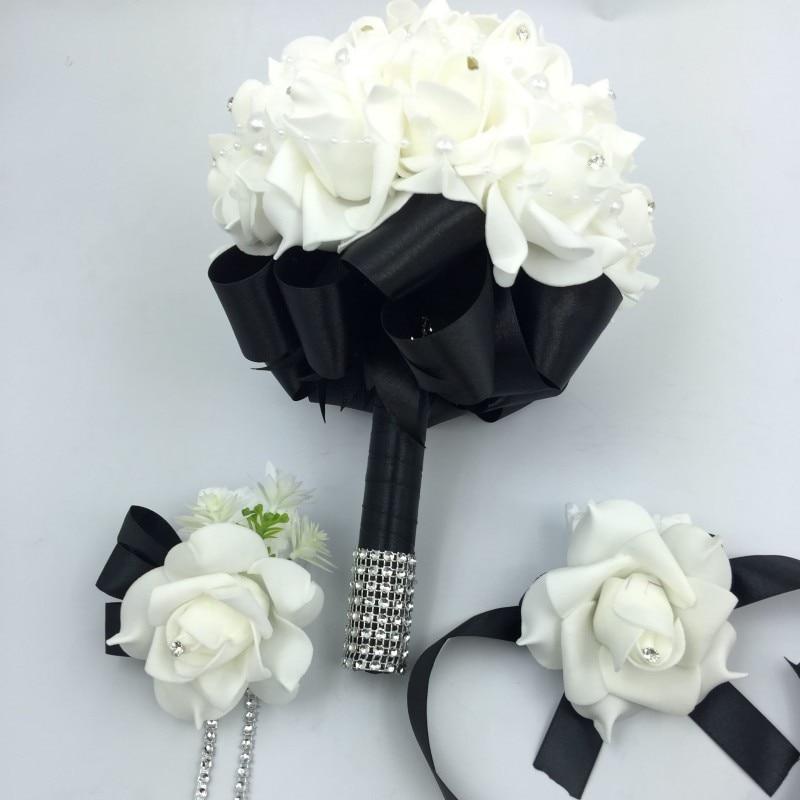 3 Pcs Black Bridal Bridesmais Rose Flowers Holder Wedding Bouquet Boutonniere Wrist Corsage Set Home Party Bride Accessories In Artificial Dried