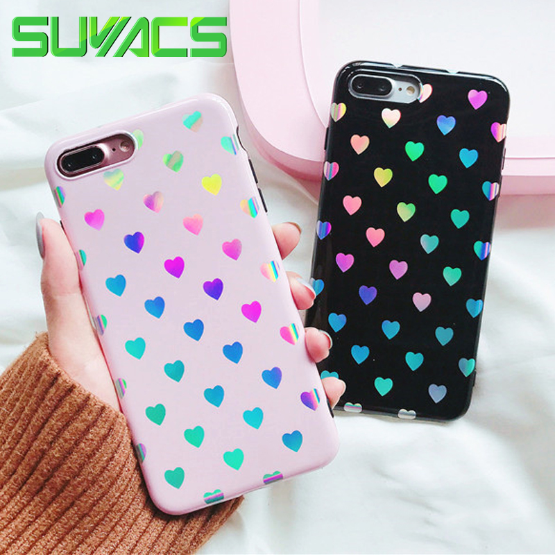 huge discount 4ed31 3448e US $2.76 20% OFF|SUYACS For iPhone 6 6S 7 8 Plus X Case Fashion Holographic  Hearts Iridescent Laser Soft Silicon IMD Phone Cases Cover Coque Bag-in ...