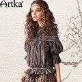 Artka Women'S Vintage Bohemian Pressure Pleated Half Petal Sleeve Mandarin Collar Water Washed Solid Denim Shirt  SN10945Q