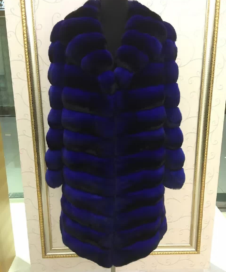 Arlene sain women Tattoo Blue Totoro Blue Purple Jacket Import South American chinchilla fur coat Black Velvet Fur Coat 089