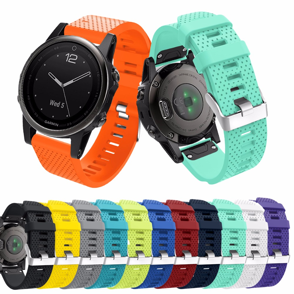 12 Colors Garmin Fenix5S band Replacement Quick Release 20mm Width SSilicone Strap For Garmin Fenix5S Smart Watch Sport Band 22mm woven nylon strap replacement quick release easy fit band for garmin fenix 5 forerunner935 approach s60
