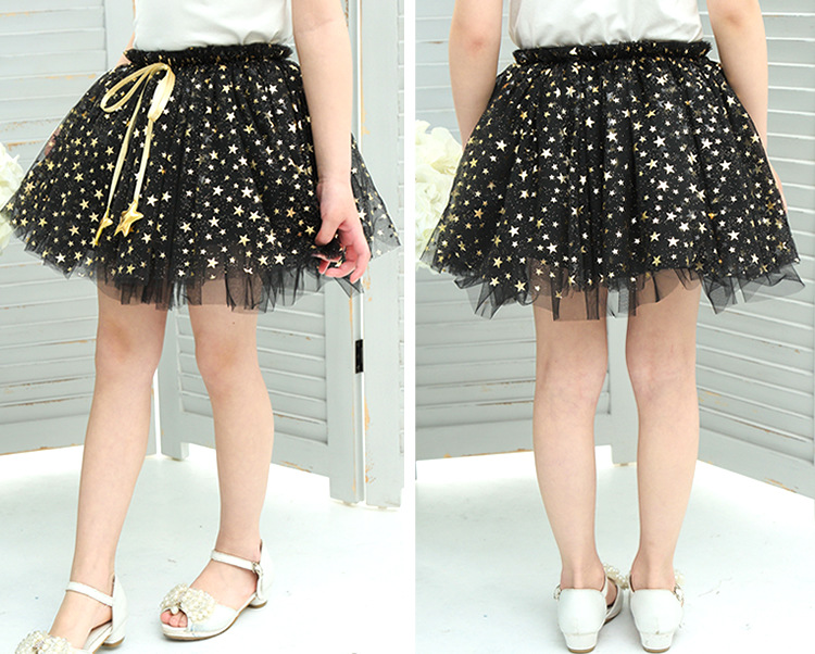 NEW spring autumn Baby Girl Clothes Girls Clothing full stars Sequins mini Skirt Casual school girls ball gown clothes for 4-10T (2)