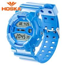 Marca HOSKA mujeres relojes mujeres reloj digital del deporte led digital de reloj resistente al agua Multifunción Clásico relogio masculino h015v