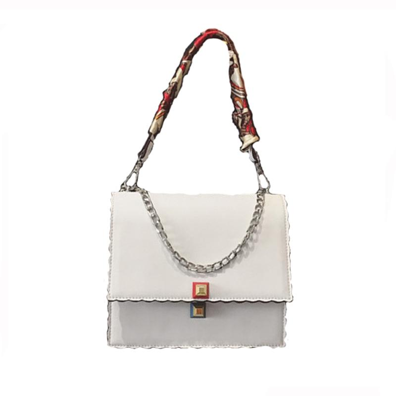 moteriškos rankinės Mada daugiasluoksnės kaklaskarės Grandinės maišelis Aukštos kokybės pečių maišeliai Ladys rankinės baltas kryžminis maišelis moterims 09