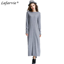 Lafarvie 2019 Women Winter Cashmere Knitted Sweater Autumn Pullovers Women High Quality Warm Female Thickening Slash Neck Long