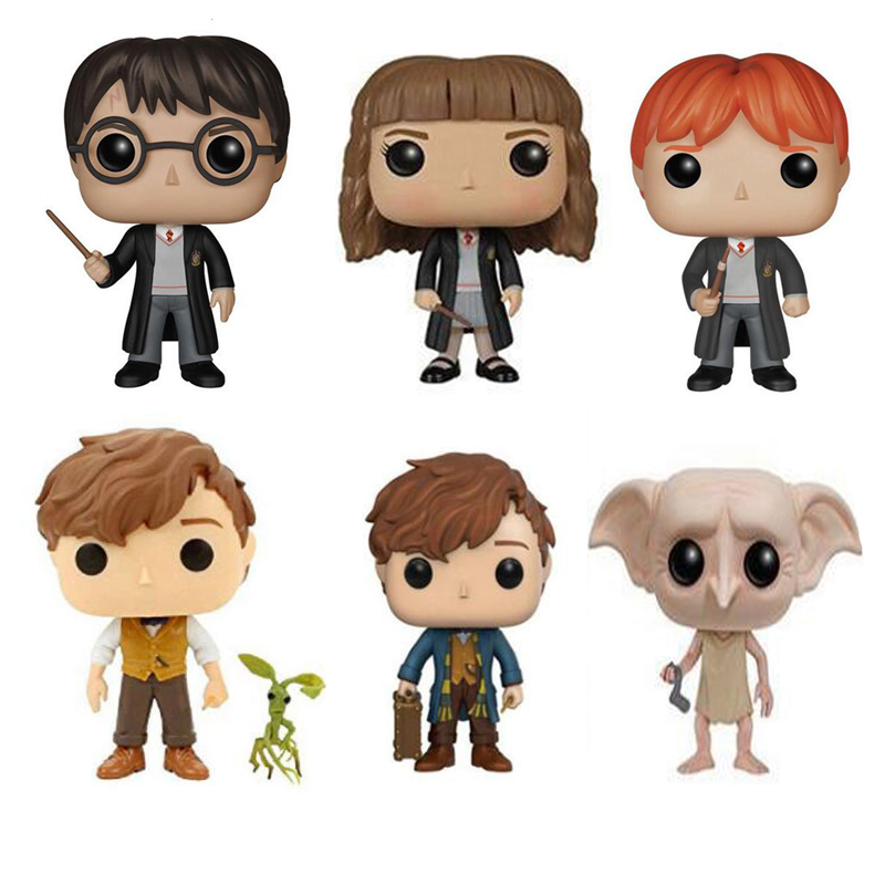 Movie Harry Potter Hermione  Ron Dobby Luna Characters Newt 10cm Vinyl Doll Figure Collection Model Toys