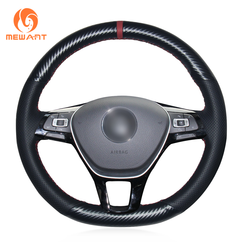 MEWANT Black Genuine Leather PU Carbon Fiber Steering Wheel Cover for Volkswagen VW Golf 7 Mk7 New Polo Jetta Passat B8 Tiguan babaai for volkswagen vw polo golf fox beetle passat tiguan pu leather weave ventilate front