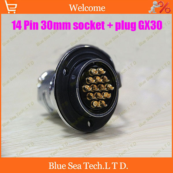 14Pin 30mm Male&Female Aviation plug Connector kit GX30 Socket+Plug+WaterProof Cap,Aviation plug interface,circular connector 14pin 30mm male