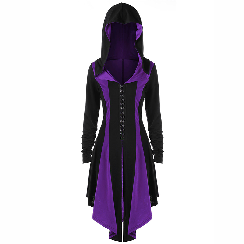 Women Steampunk Victorian Gothic Hooded Lace Up Medieval Halloween Dress Costume