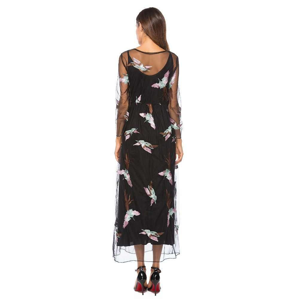 Роскошное богемное платье 2019 осень подиум элегантное Брендовое Дизайнерское черное вышивка Бохо Сетчатое платье женское винтажное длинное платье