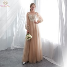 Robe Soiree Longue Femme 2019 Walk Beside You Dark Champagne Evening Dresses Long Sleeve Lace Applique Illusion Bodice Prom Gown