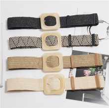 Wax Rope Braiding women belt Square Buckle Skirt Belt Womans Vintage Knitted Waist Woven Female Elastic Braided BZ46